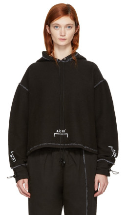 A-Cold-Wall* - 	SSENSE Exclusive Black Shrink Wrap Corded Logo Hoodie