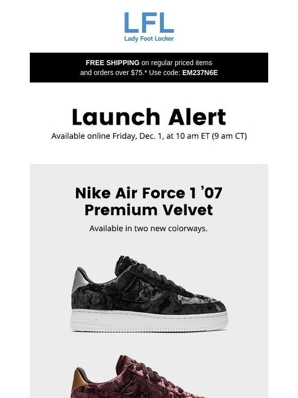 e0e07dbe906c Lady Foot Locker  Nike Air Force 1  07 Premium Velvet and more – available  12.1