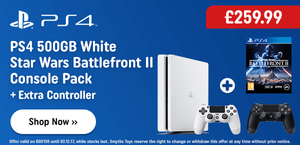 PS4 White 500GB Star Wars: Battlefront II Bundle & Extra Controller