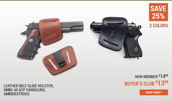 Leather Belt Slide Holster, 9mm/.45 ACP Handguns, Ambidextrous