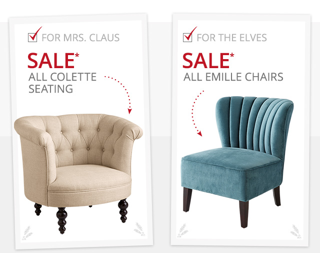 Sale all colette seating & emille chairs.