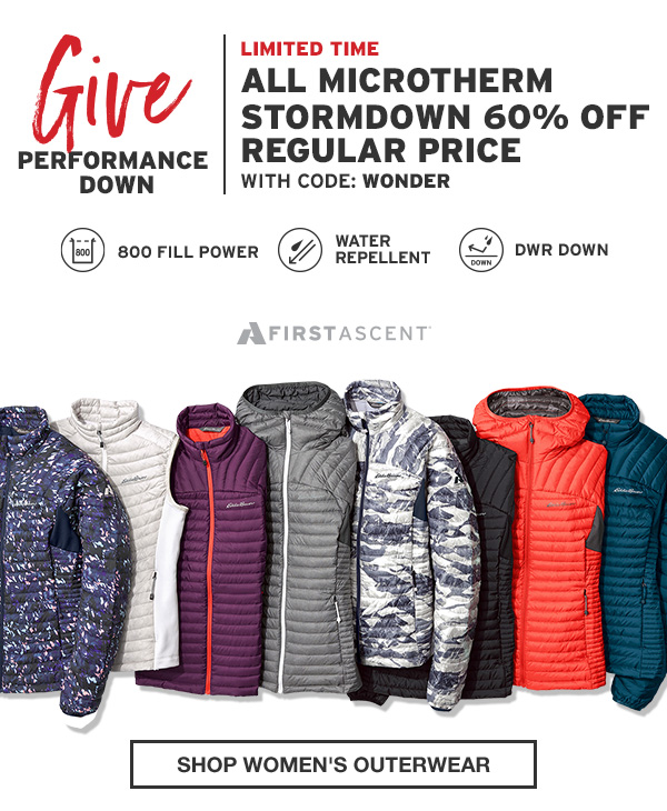 60% OFF ALL MICROTHERM STORMDOWN | SHOP WOMEN'S OUTERWEAR