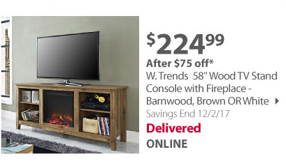 58 wood tv stand  fireplace