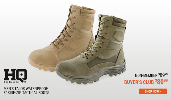 HQ ISSUE Men's Talos Waterproof 8 Inch Side-Zip Tactical Boots