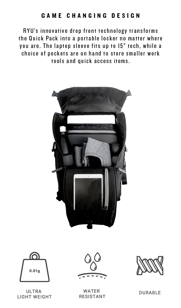 49fe3a84048 RYU  Tailored for your life  The RYU Quick Pack 18L