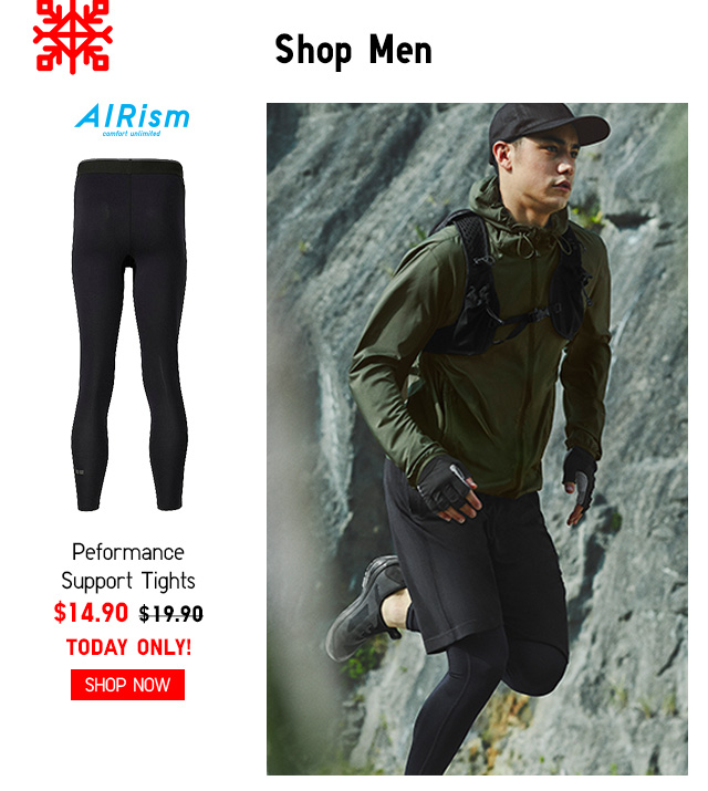 SHOP MEN - Airism Men Performance Support Tights $14.90 TODAY ONLY! Shop Now