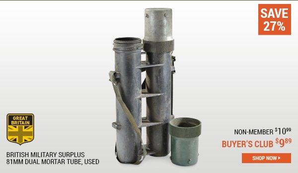 British Military Surplus 81mm Dual Mortar Tube, Used