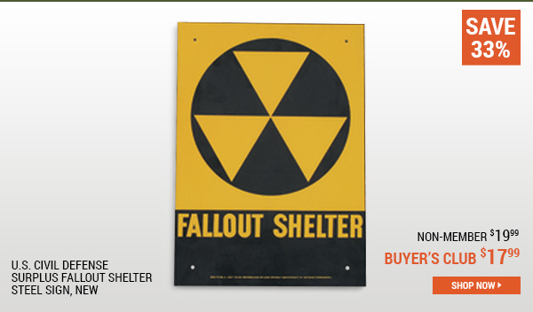 U.S. Civil Defense Surplus Fallout Shelter Steel Sign, New