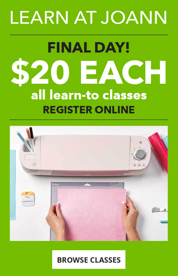 Final Day! $20 each All Learn-To Classes. Register online. BROWSE CLASSES.