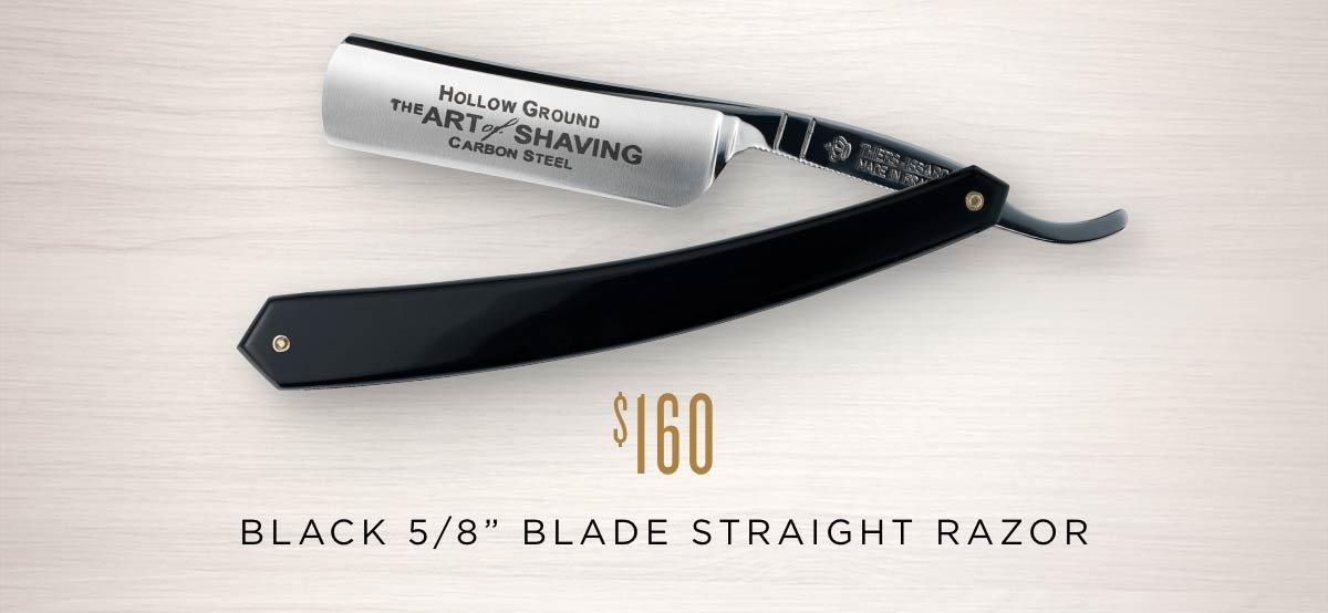 "Black 5/8"" Blade Straight Razor"