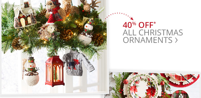 40% off all Christmas ornaments.