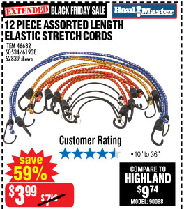 12 Pc Assorted Length Elastic Stretch Cords