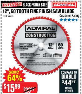 12 in. 60T Fine Finish Circular Saw Blade