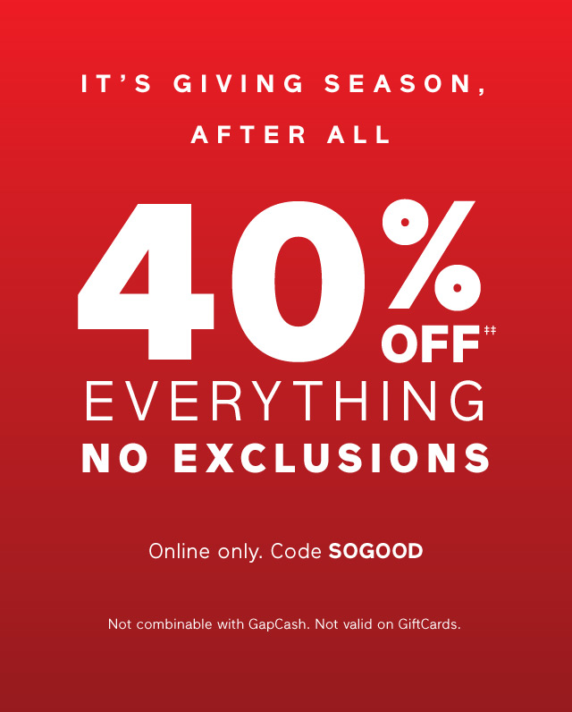 ITS GIVING SEASON, AFTER ALL | 40% OFF EVERYTHING NO EXCLUSIONS