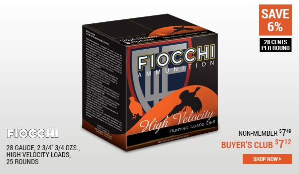 Fiocchi, 28 Gauge, 2 3/4 Inch 3/4 ozs., High Velocity Loads, 25 Rounds