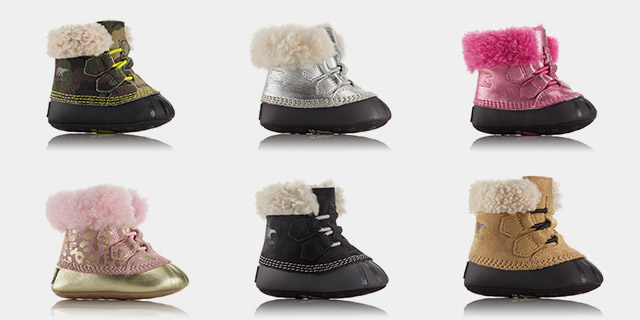 A selection of baby snow boots.