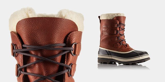 Profile view of an ankle snow boot.