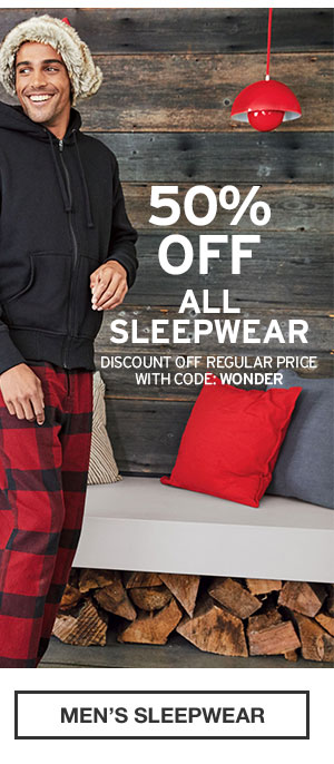 50% OFF ALL SLEEPWEAR | SHOP MEN'S SLEEPWEAR