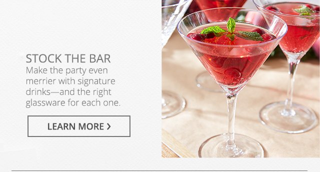 Stock the bar. Learn more.