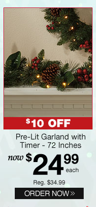Pre-Lit Garland with Timer - 72 Inches