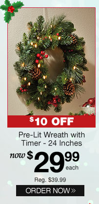 Pre-Lit Wreath with Timer - 24 Inches