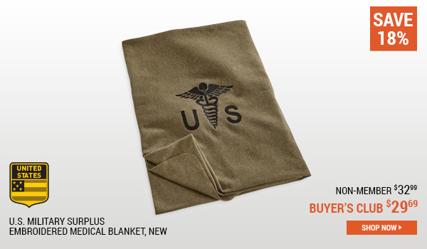 U.S. Military Surplus Embroidered Medical Blanket, New