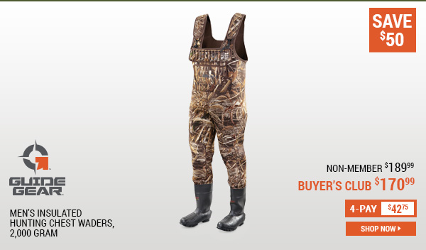 Guide Gear Men's Insulated Hunting Chest Waders, 2,000 Gram