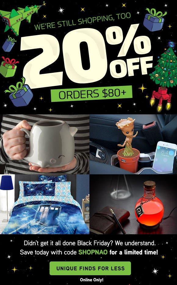 20% off orders $80+