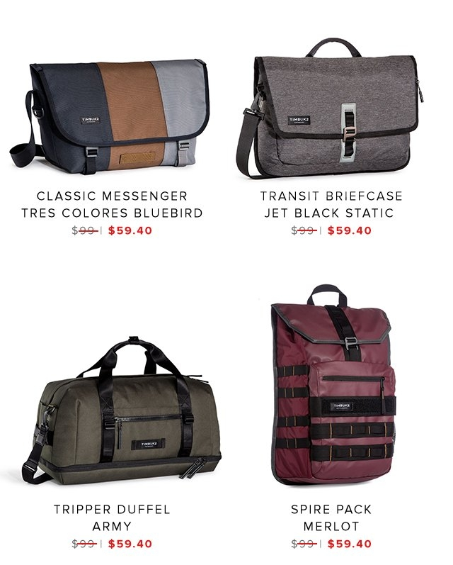 Classic Messenger | Transit Briefcase | Tripper Duffel | Spire Pack | Shop Sale