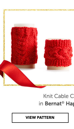 Add some sparkle to your decor with some candle cozies in Bernat Happy Holidays. Knit Cable Candle Cozies. VIEW PATTERN.