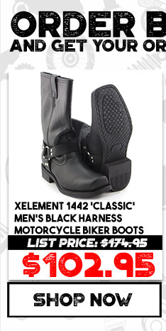 7d68a9ab2a8 Xelement 1442  Classic  Men s Black Harness Motorcycle Biker Boots ...