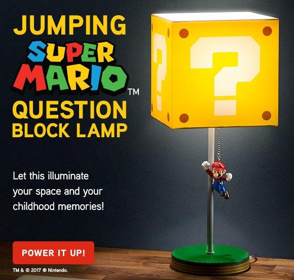 Jumping Super Mario Question Block Lamp