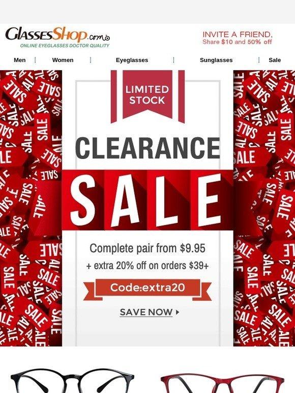 55b3b111abdf GlassesShop.com   9.95 For a Complete Pair! Clearance Sale!