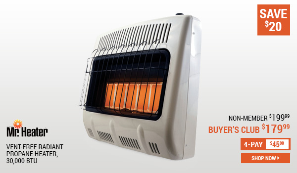 Mr. Heater Vent-Free Radiant Propane Heater, 30,000 BTU