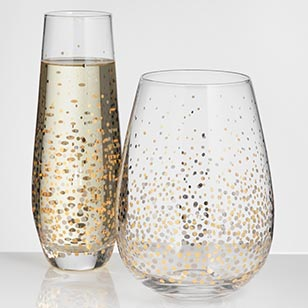 Metallic Confetti Glassware Collection
