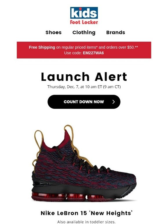 9b2fdc2ddff Kids Foot Locker  Releasing 12.7  the Nike LeBron 15 and Huarache Run