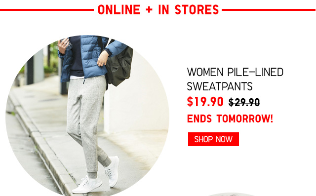ONLINE + IN STORES - Women Pile-Lined Sweatpants $19.90 - ENDS TOMORROW! Shop Now