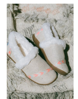 Metallic Burlap Youth House Slippers