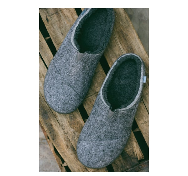 Grey Slub Textile Men's Berkeley Slippers