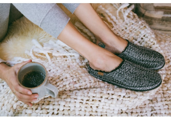 Black and White Sweater Knit Women's Ivy Slippers