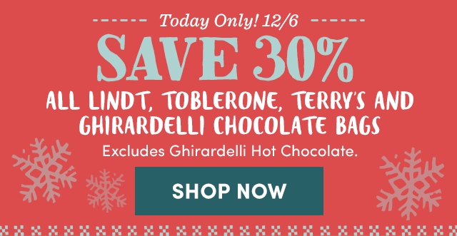 Today Only! Save 30% All Lindt, Toblerone, Terry's & Ghirardelli Chocolate Bags