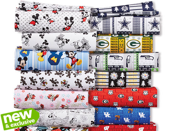 Team Shop, Licensed Character Fabrics and No-Sew Throw Kits.