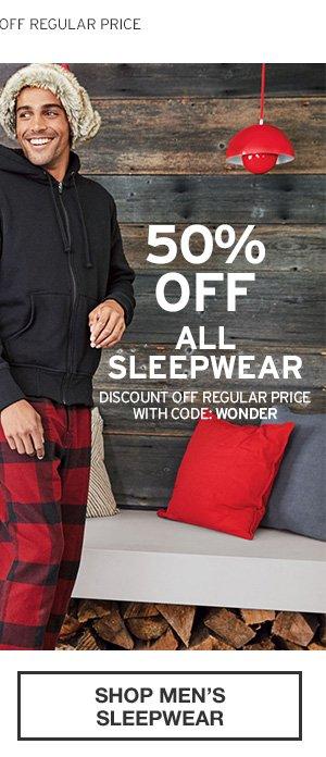 50% OFF ALL SLEEPWEAR | SHOP MEN'S SLEEPWEAR