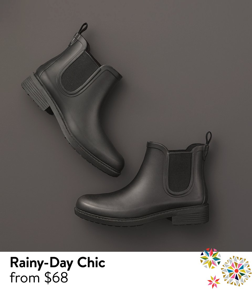 Chic rain boots.