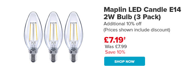 Maplin LED Candle E14 2W Bulb (3 Pack)