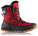 A profile view of a red short snow boot.