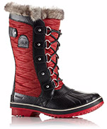 A profile view of a red snow boot.