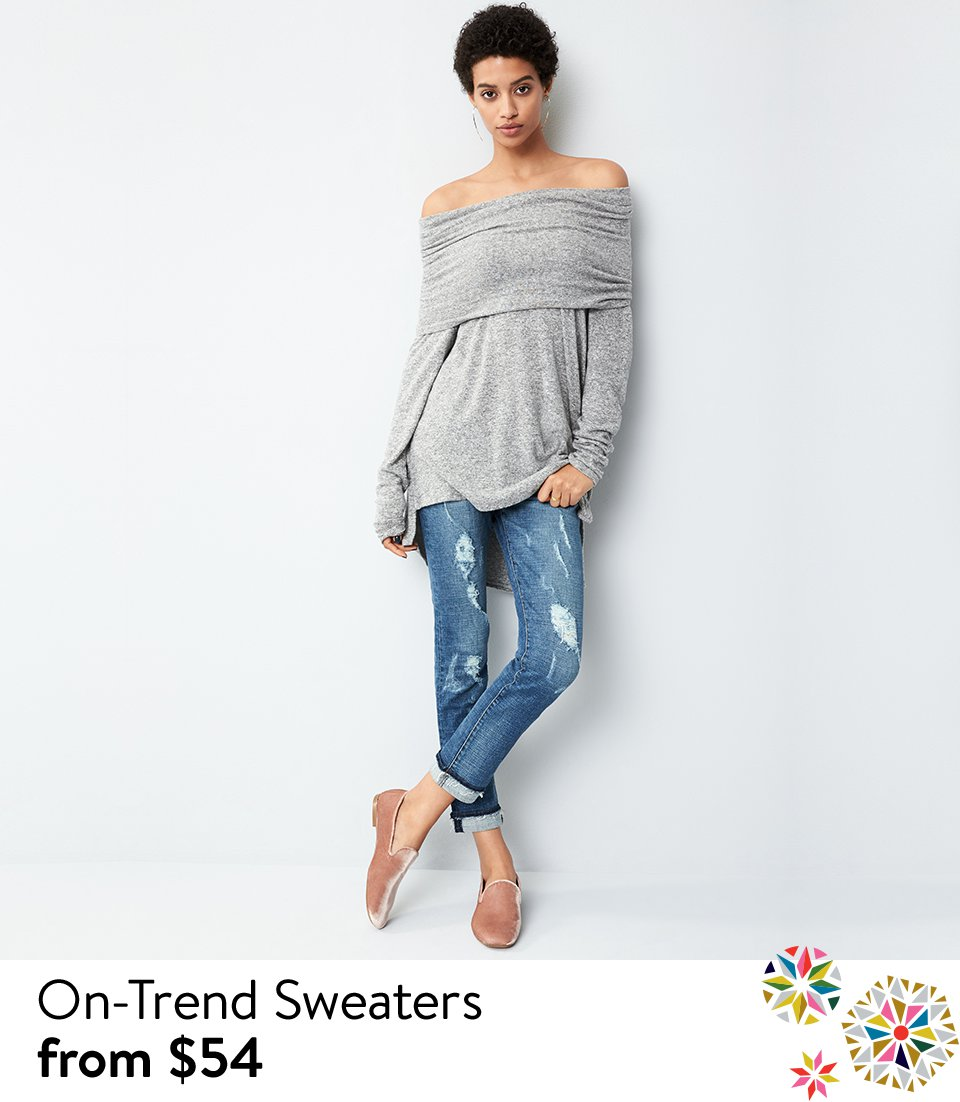 On-trend sweaters from $54.