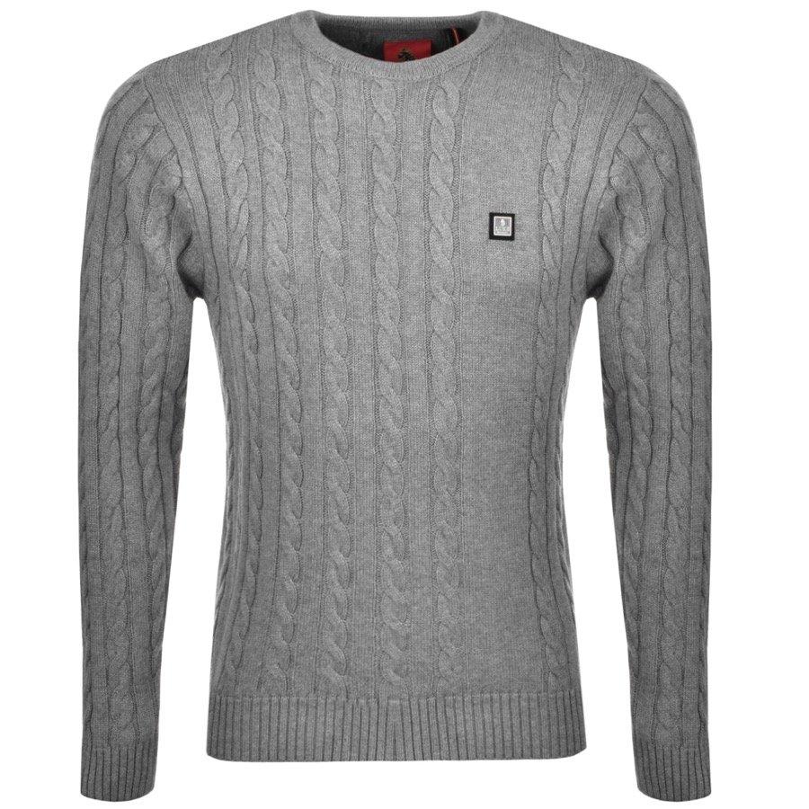 Luke 1977 Hortons Cable Knit Jumper Grey