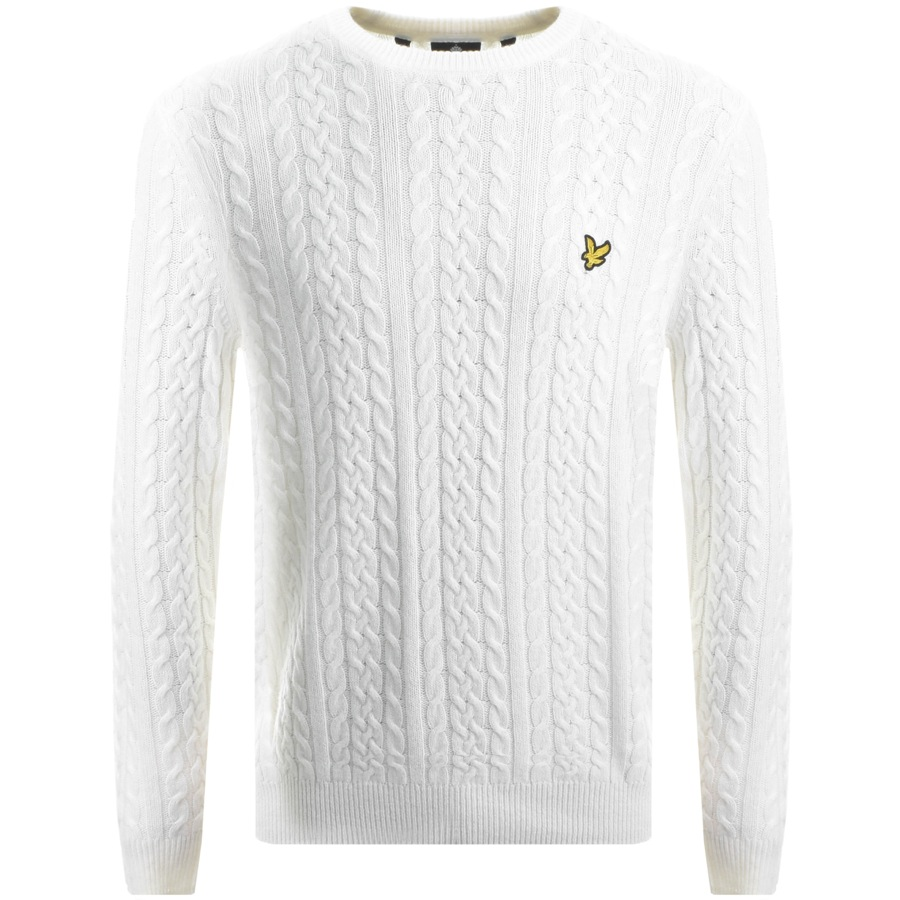 Lyle And Scott Crew Neck Cable Jumper White